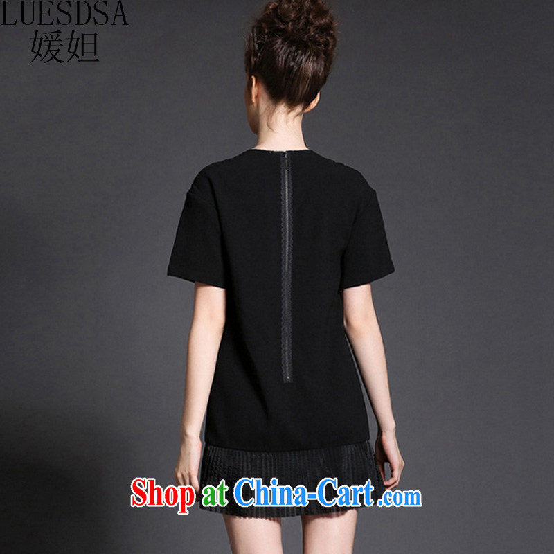 Yuan Zobaida Jalal 2015 spring and summer, the United States and Europe, the female loose mask poverty video thin short-sleeve embroidery flower mm thick snow woven dresses YD 146 black 3 XL, Yuan (LUESDSA), and shopping on the Internet