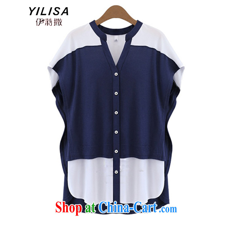 Europe YILISA new larger blouses thick mm summer relaxed and stylish 100 in a long spell to hit color collar bat sleeves shirt K 862 dark blue 5 XL