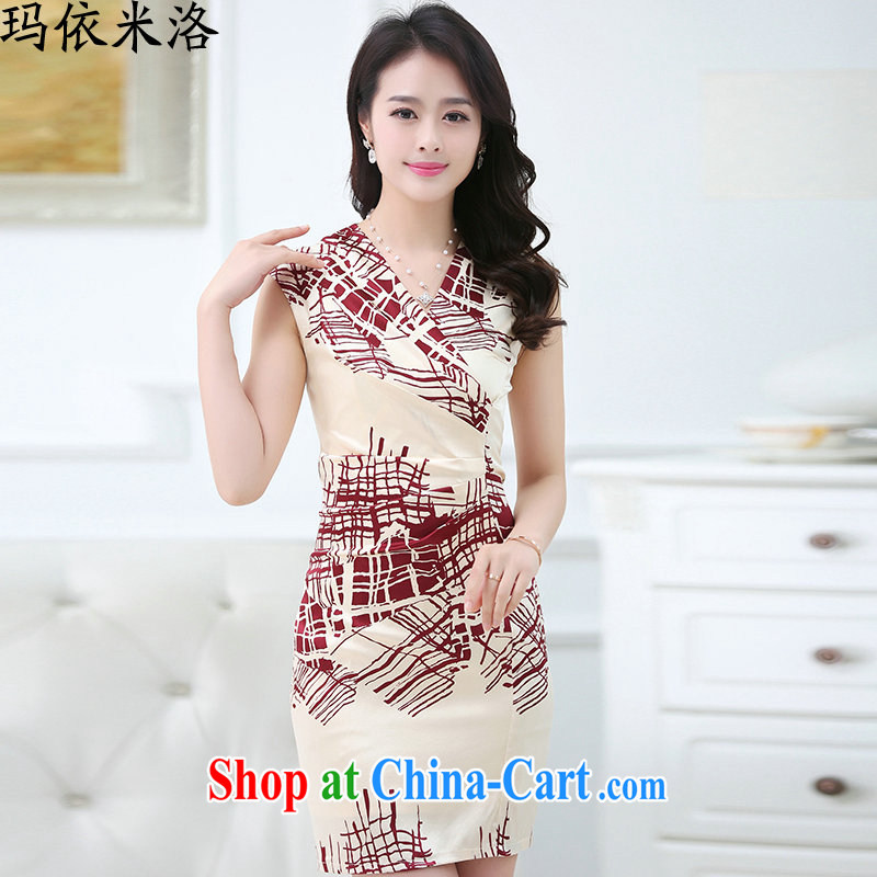 mm thick 2015 summer new OL temperament larger female further dress short-sleeved beauty graphics thin package and silk dresses in older women with new meters the saffron XL recommendations 110 - 120 jack
