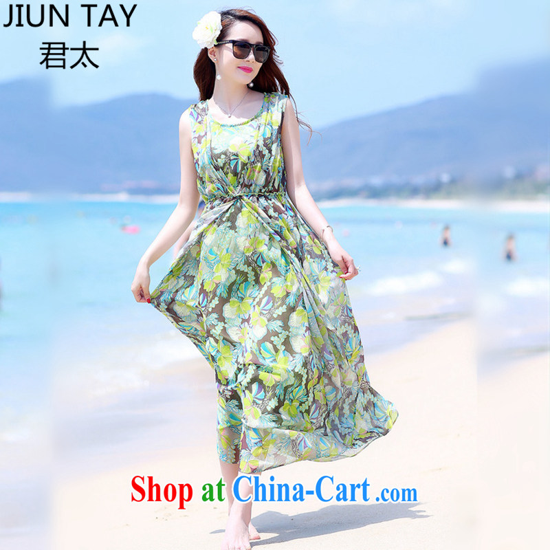 Grand Pacific 2015 summer the Code women's clothing snow woven dresses New Heavens, stamp green fresh sleeveless round neck long skirt green M