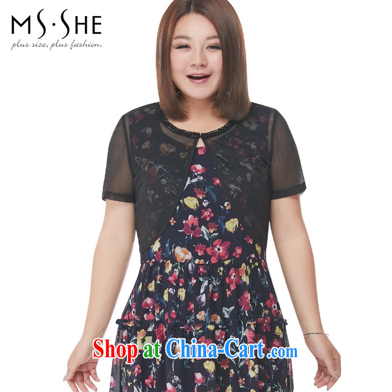 The MSSHE indeed XL women 2015 new Summer Scent the wind round-collar jacket short pre-sale 4206 black 3 XL