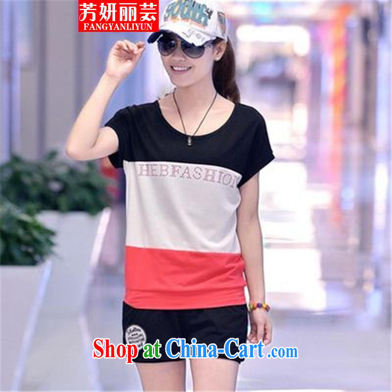 Fang Yu-na Lai-wan 20,157 pants sportswear and Leisure package girls summer Korean version liberal movement with short-sleeved sweater black XXL