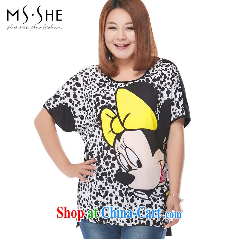 The MSSHE indeed XL women short-sleeve T-shirt 2015 new summer card stamp round-collar short-sleeve shirt T 2839 black 4XL