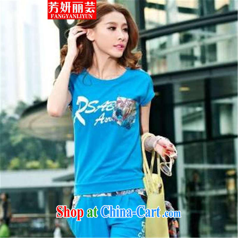 Fang Yu-na Lai-wan 2015 Korean female sweater Kit short-sleeved 7 pants sport and leisure package female summer blue XL