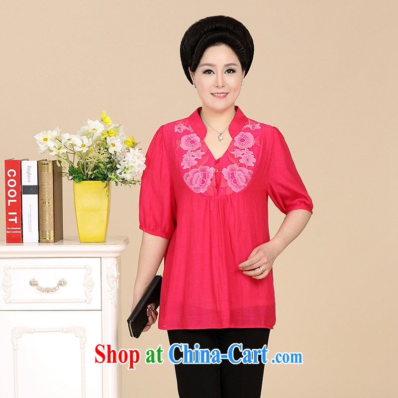 Where Kosovo Mr Rafael Hui summer new elegant style stylish middle-aged ladies and elegant ladies shirt large code, Mom is relaxed embroidered summer cool shirt large red 5 XL