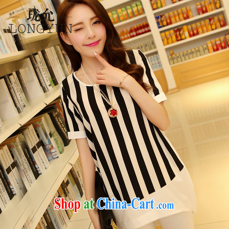 The long summer 2015 new Korean version the Code women mm thick graphics thin Jack snow woven shirt short-sleeve, long streaks T shirts female streaks XXXL 165 - 200 jack