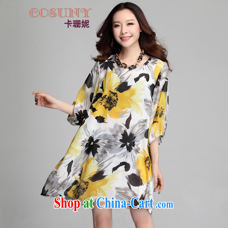 Card and Anne 2015 spring and summer new paragraph 5 cuff bubble sleeve loose the code snow woven shirts dresses the flowers stamp skirt mother load K 7510 yellow XXXL