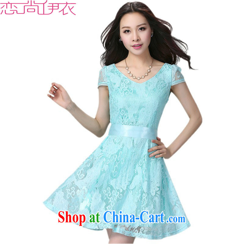 The package mail and ventricular hypertrophy, dresses 2015 new summer sweet V collar lace OL short skirts thick mm dress short-sleeved beauty skirt blue 4 XL approximately 170 - 185 jack