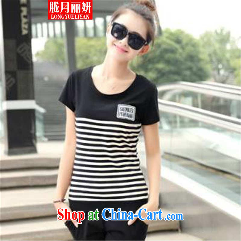 Measures, Lai Yin 2015 Korean version of the greater code female leisure shorts Kit female beauty uniforms stripes two piece black XXXL