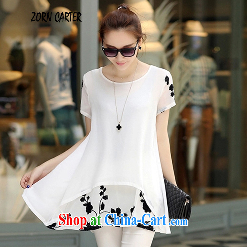 Jordan Carter, summer 2015 new Korean version of the greater code female short-sleeved snow woven shirts loose video thin thick MM dresses women 7081 white XXXL