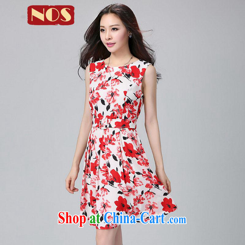 Thin _NOS_ Korean fashion stamp the code dress belt around his waist graphics thin, with skirt Y 22,011 suits the code 4 XL