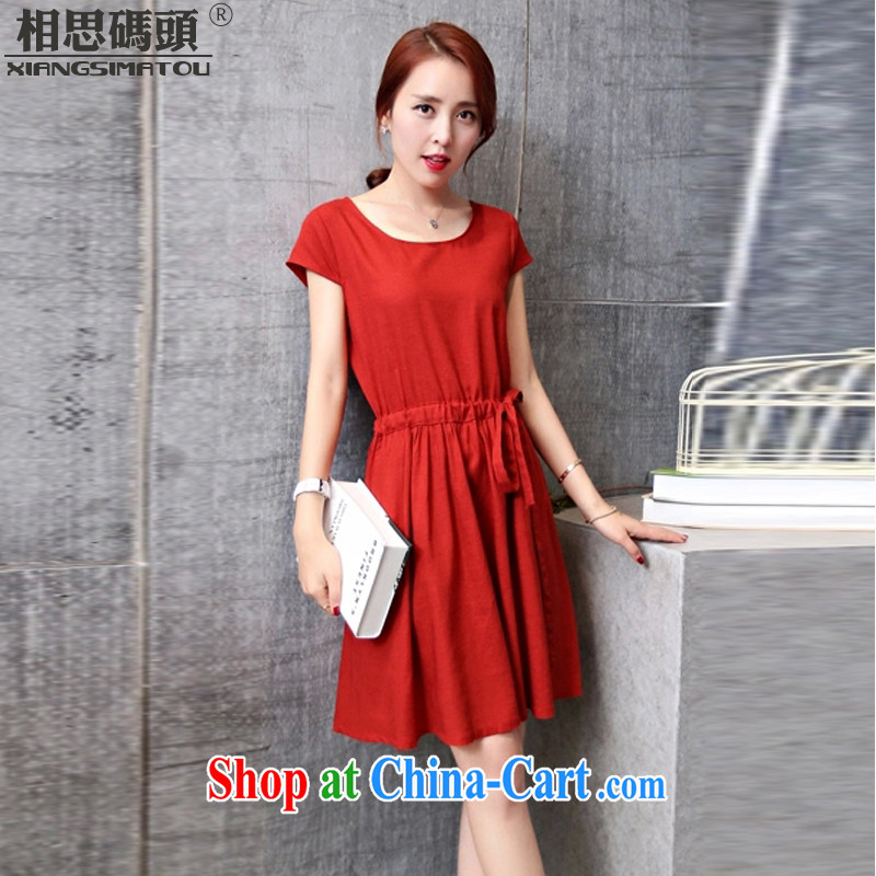 Acacia pier summer 2015 new units the Commission women Korean version the code loose linen dresses cotton the skirt wine red L
