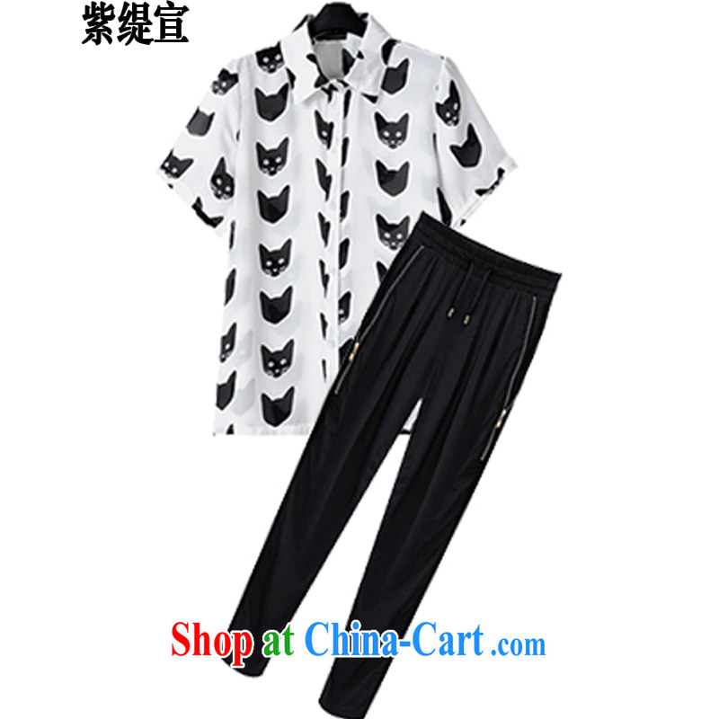 first economy in Europe and declared the code female summer new stylish two-piece with thick mm kitten snow woven shirts T-shirt + Harlan long pants 1913 _4 XL 165 - 175 about Jack