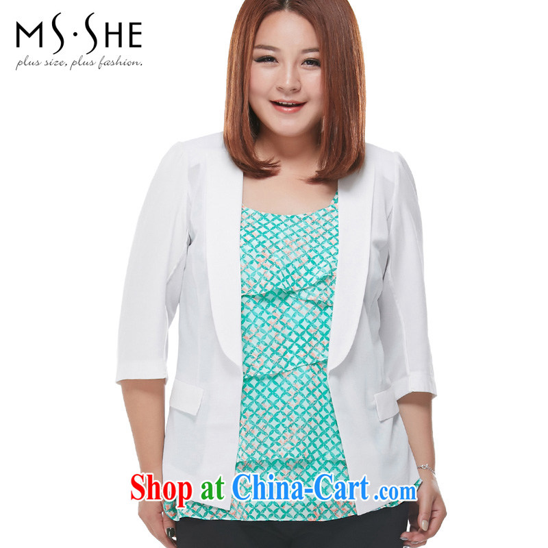 MsShe larger women 2015 spring new OL small suit short-sleeve cardigan cultivating jacket 7125 white 7 cuff XL 6