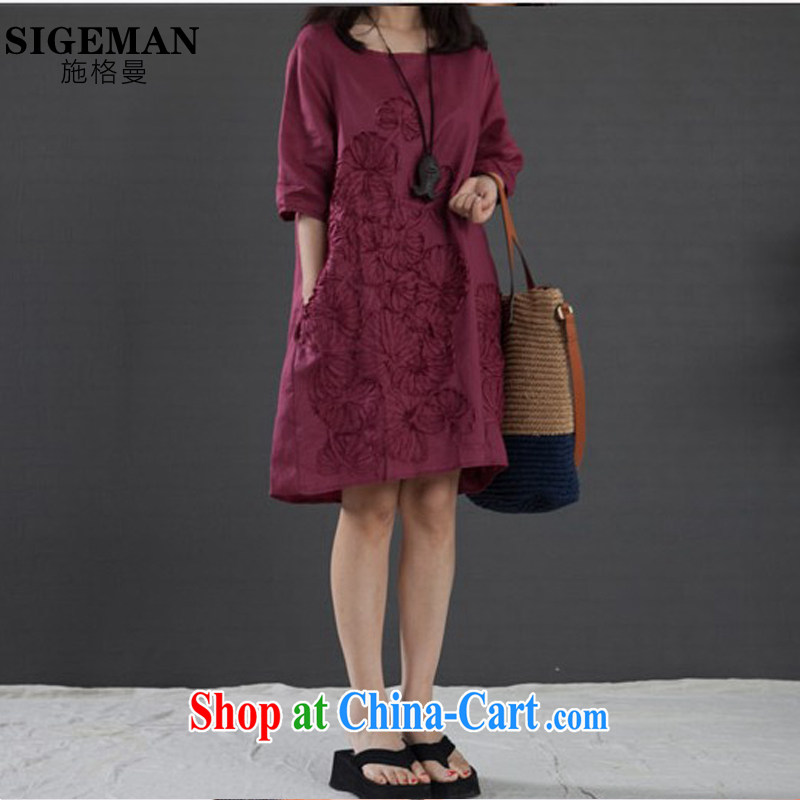 Rate the Cayman 2015 new, larger female arts, small fresh dresses thick MM loose embroidered short sleeves ethnic wind cotton the dresses female wine red XXL