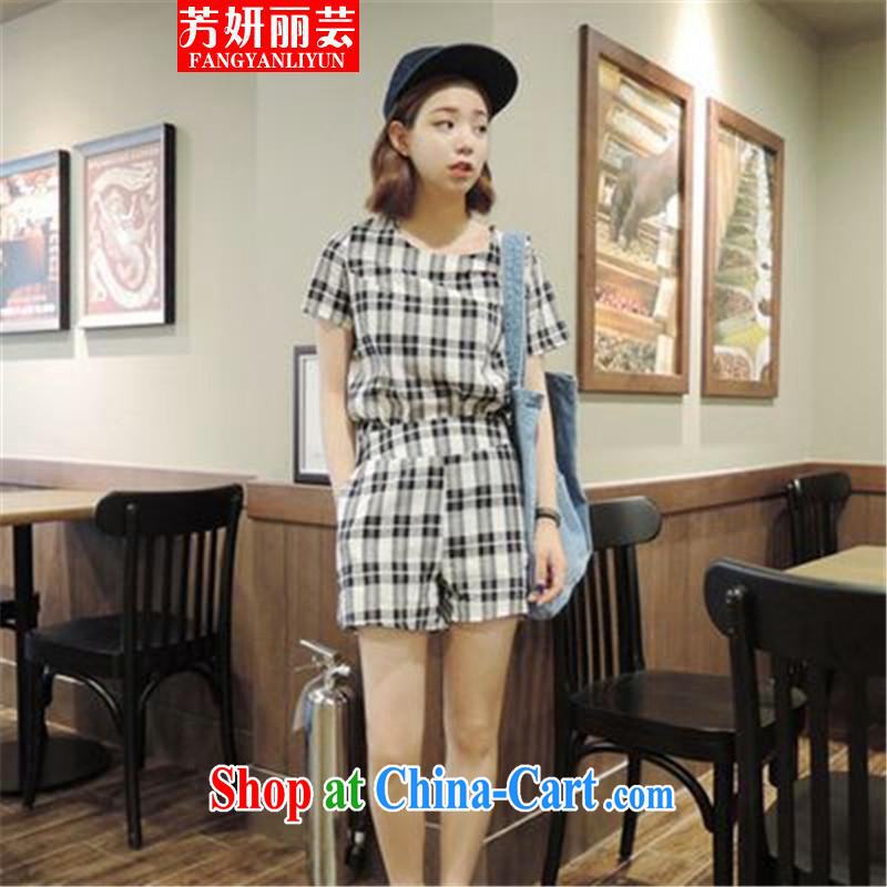 Fang Yu-na Lai-wan 2015 cotton the grid package T-shirt pants blue-and-white checkered L