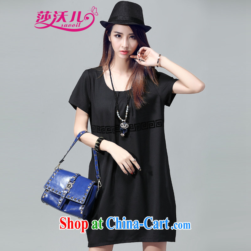 Elizabeth's Kosovo savoil thick mm maximum code dress stylish stamp short-sleeved loose dresses D 2053 black 4XL recommendations 160 - 170