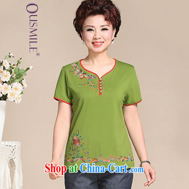 Ousmile 2015 spring and summer New China wind embroidered short sleeves installed MOM T-shirt T pension in the elderly, female 672 green 4 XL
