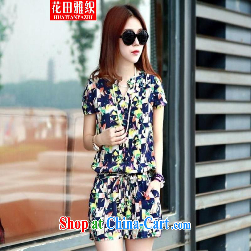 Flowers, 2015 UNESCO-pants video thin stamp short sleeve shorts casual floral-pants army green code XXXXL