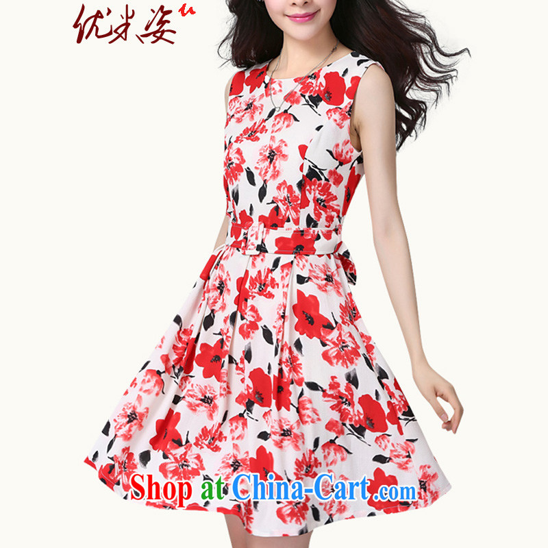 Optimize m Beauty Package Mail Delivery 2015 summer elegant OL floral stamp round-collar sleeveless dresses to suit belt 4 XL