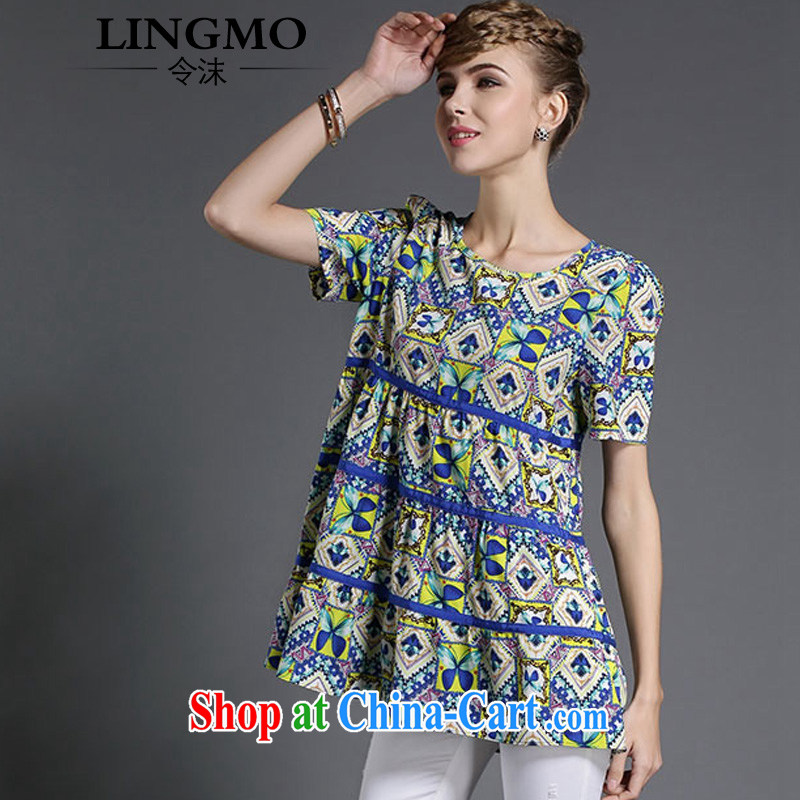 The spray high in Europe and America, the girl with the FAT and FAT MM summer, long, floral short-sleeved cascading A-loose video thin ice woven shirts T-shirt blue floral XL code