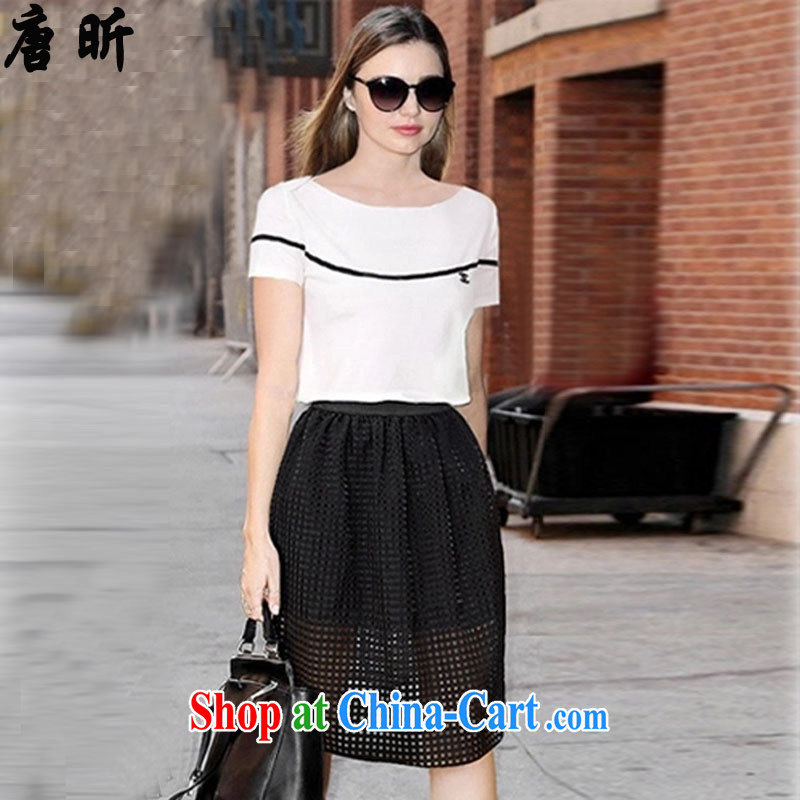 Tang year 2015 summer new Europe the Code women's clothing dresses dresses Web short-sleeve two-piece thick MM white + black skirt_1815 2 XL 135 - 145 Jack left and right