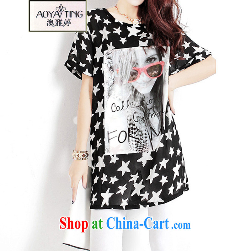 o Ya-ting 2015 New, and indeed increase, female summer thick mm video thin short-sleeved shirt T female, long wave, black L recommends that you 120 - 150 jack