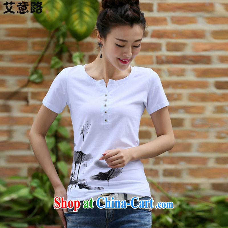 The intended way 2015 new summer Korean female stamp duty short-sleeved shirt T female beauty graphics thin large code female, pure cotton T 8130 white XXL