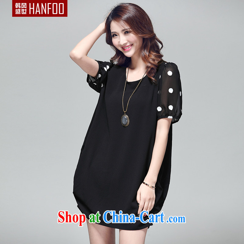 2015 Hanfoo larger summer new short-sleeved lantern skirt thick MM ultra-liberal dot stitching and indeed intensify cocoon-type dress pregnant women black XL