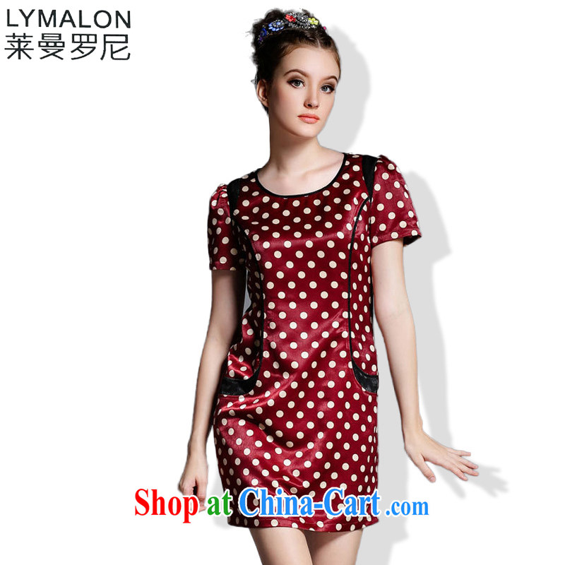 Lehman Ronnie lymalon fat people graphics thin 2015 Summer in Europe and America, the girl with the FAT and stylish dot spell series dress 1862 picture color 5 XL