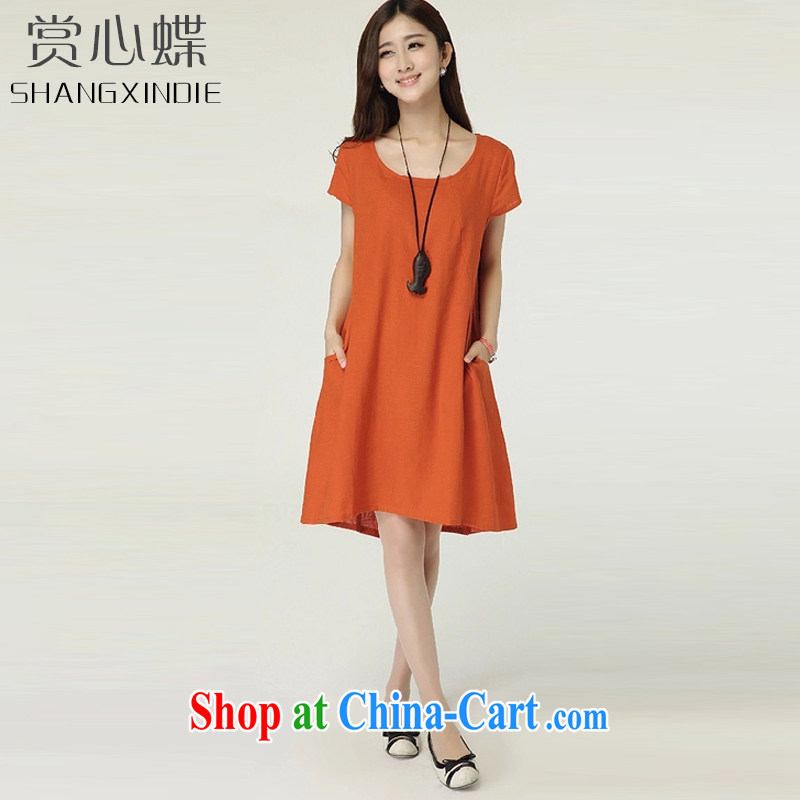 The butterfly 2015 new female Korean version the code loose linen dresses cotton the skirt 1107 Red Orange XL