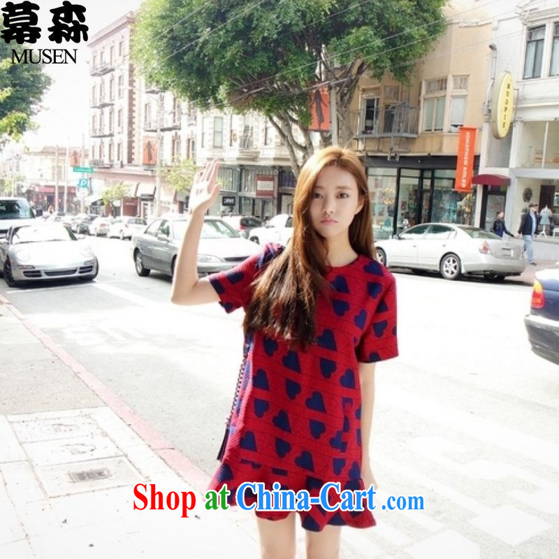 The sum 2015 summer won the FAT and FAT MM graphics thin large code flouncing heart-shaped pattern short-sleeved round-collar dress 200 jack to wear picture color XXXXXL