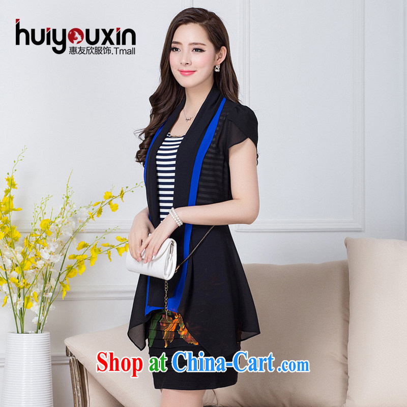 Friends Benefit from favorable 2015 spring and summer with new female temperament dresses female Korean version Two-piece in Europe and America, the cultivation jacket short-sleeved dresses summer blue 4 XL