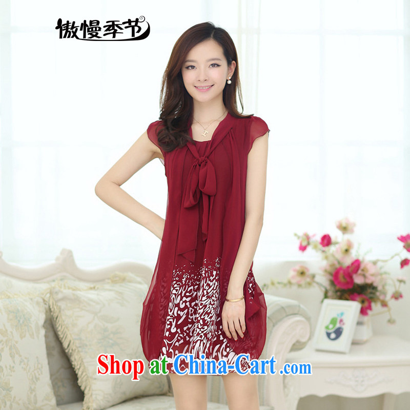 Arrogant season summer 2015 new dresses female Korean version cultivating the Disposition Code loose thick snow MM woven graphics thin pregnant women dress wine red XXXXXL