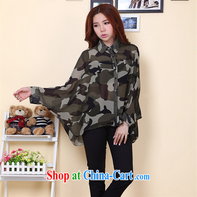 Close deals with clothing summer 2015 Korean trendy bat sleeves loose long transparent snow woven shirts fluoro shirts sunscreen clothing army green L