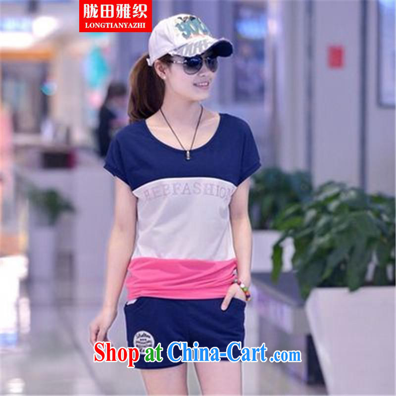 measures, including 20,157 pants sportswear Leisure package girls summer Korean liberal movement with short-sleeved sweater navy blue XXL