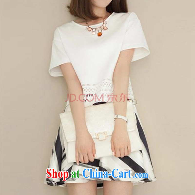 Sweet 1000 2015 in spring and summer with new thick MM dresses XL dress short-sleeved thick sister two-piece white L