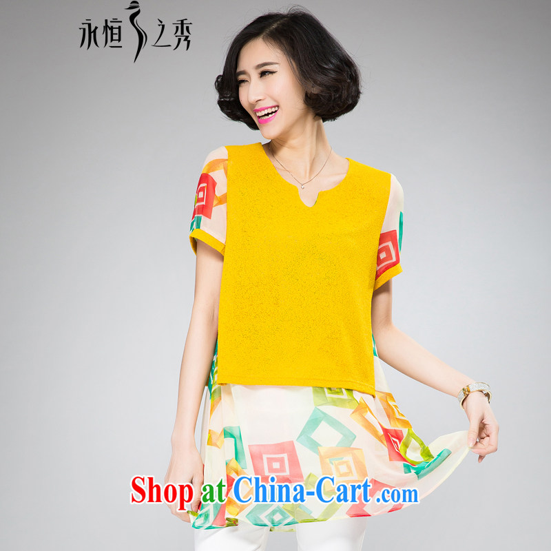 Eternal show the fat XL girls T-shirts skirts thick sister 2015 summer new thick mm thick, graphics thin, long, Korean version, snow woven stamp T-shirt yellow 4 XL
