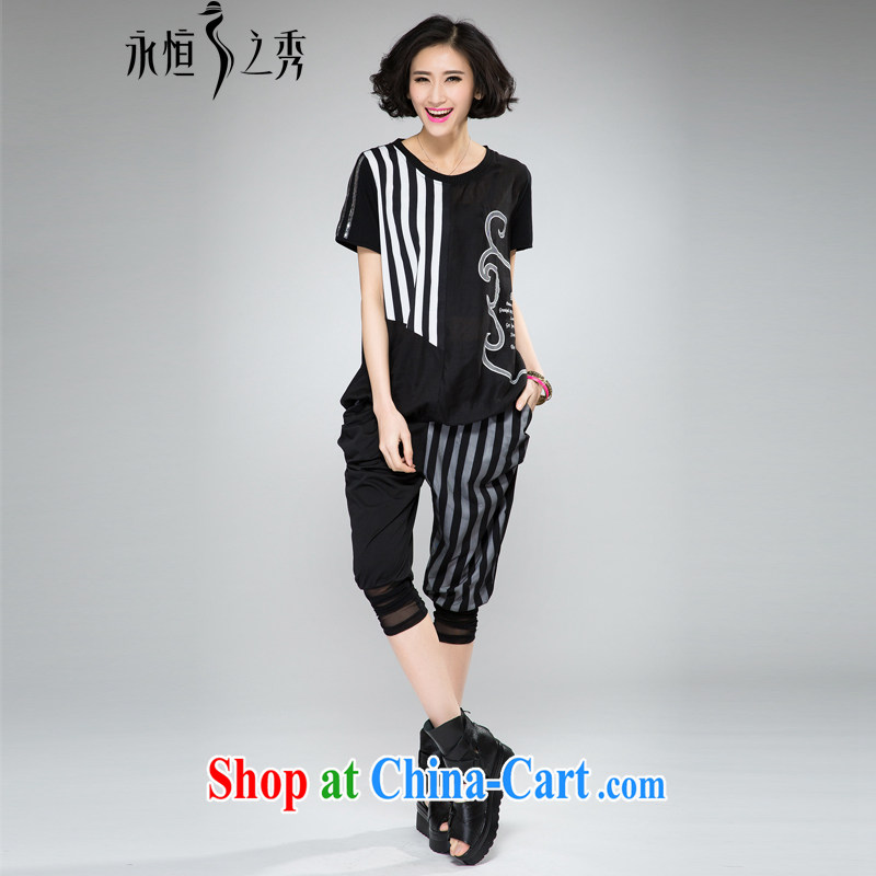 Eternal-soo and indeed increase, female video thin package thick sister 2015 summer new thick mm thick, graphics thin strips lace T-shirt pants two piece black 4XL