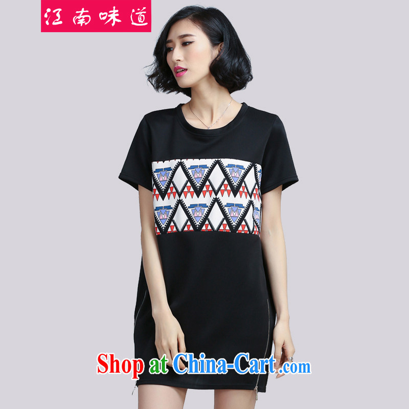 Gangnam-gu taste thick sister summer 2015 and indeed XL female liberal video thin skirts thick mm short-sleeve dress 6069 black 5 XL