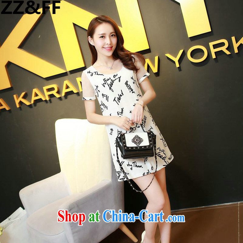 ZZ &FF 2015 Korean version summer is the girl with the short-sleeved European root yarn stitching snow letters woven dresses white XXXL