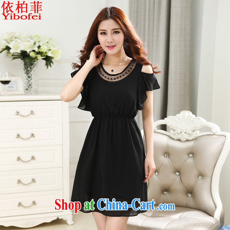 According to perfect summer 2015 new Korean fashion beauty larger graphics thin ice woven flouncing thick sister dresses female Y 2239 black 4XL