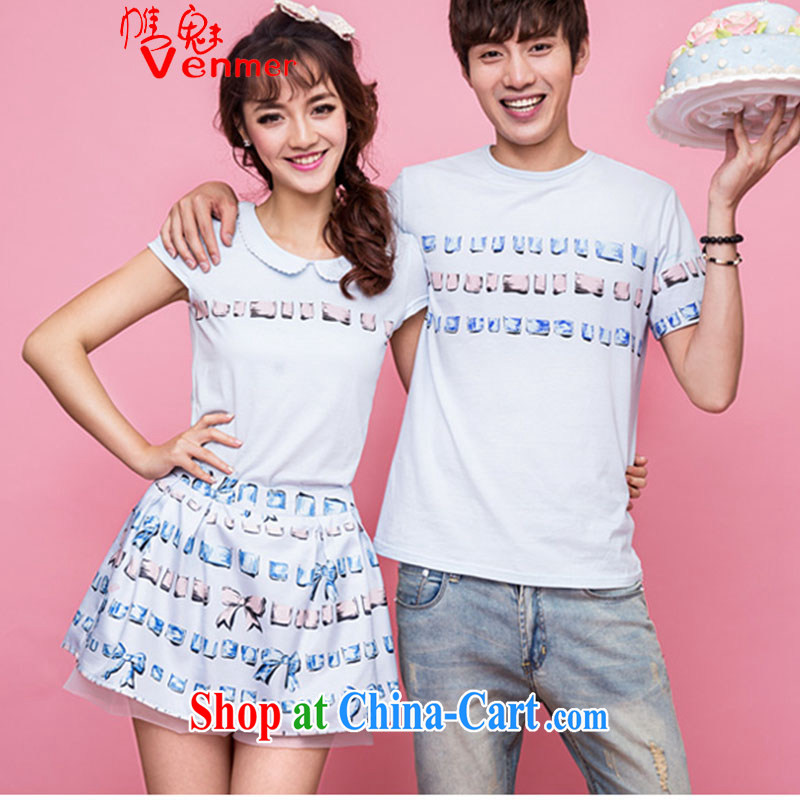 The Code female 100 2015 for new couples with short-sleeved baby collar T shirts skirts pants two piece set with couples with summer Korean version 8992 blue XXL