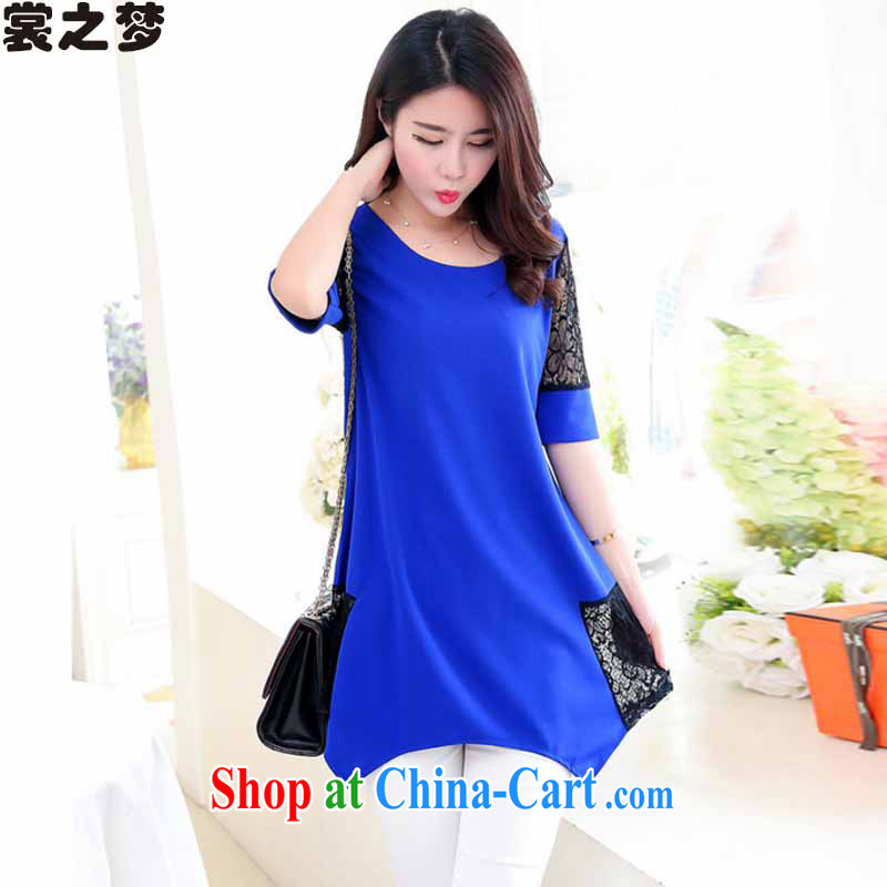 Advisory Committee's dream 2015 summer new, female, long lace loose short sleeve shirt T larger women 8888 blue XXXL