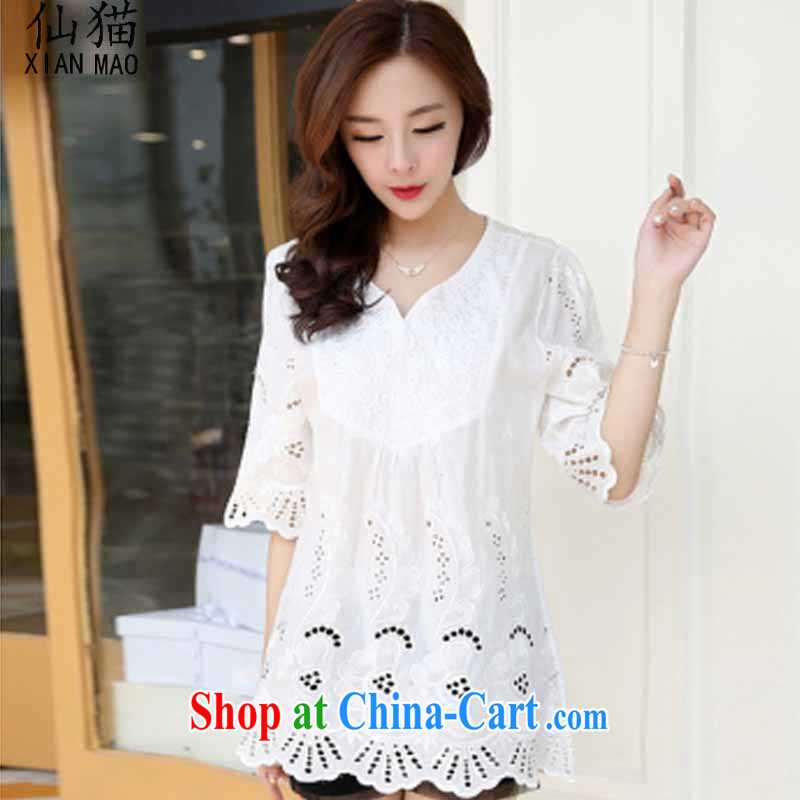 sin cat 2015 new Korean embroidery larger female and indeed increase relaxed thick mm pure cotton, sleeveless white XXL for 150 - 200 jack