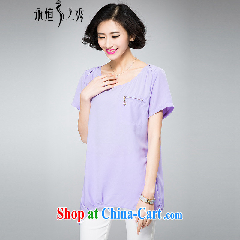 2015 spring and summer mm thick new larger female stylish zipper pocket on the side on the truck graphics thin ice woven cuff T light purple 4 XL