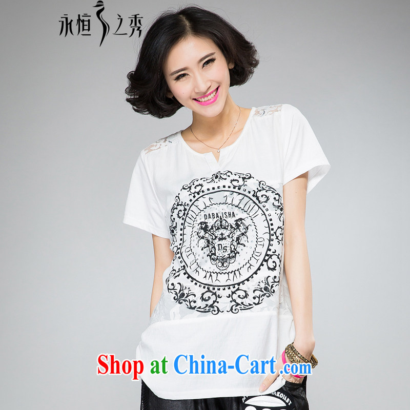 Eternal-soo and indeed increase, female fat sister summer new t-shirt thick mm thick, graphics thin stylish hot drill digital stamp lace shoulder Openwork T pension white 3XL