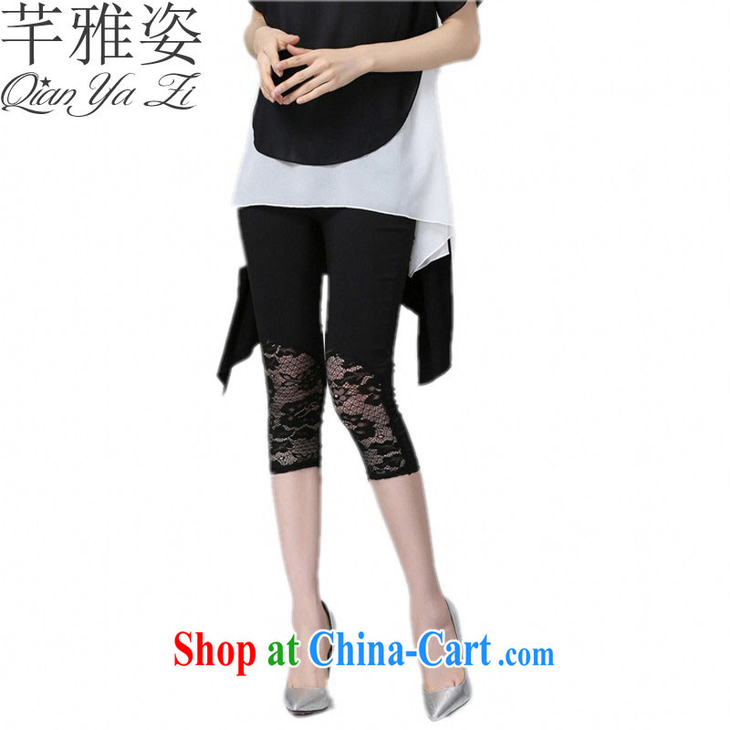 Constitution and colorful 2015 new summer XL stretch 7 pants cotton lace pants solid fat in mm waist graphics thin thin cuff in a pop-up 100 ground pants black 7 pants 5 XL approximately 170 - 190 jack