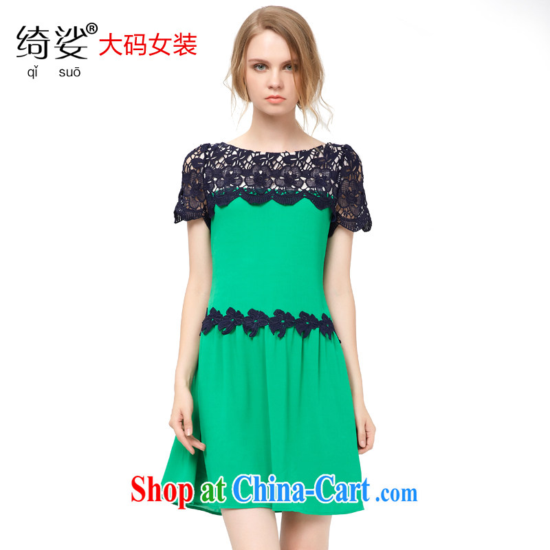 cheer for summer 2015 the code female thick MM Korean lace stitching and indeed intensify, thick sister dresses 2691 green 3 XL