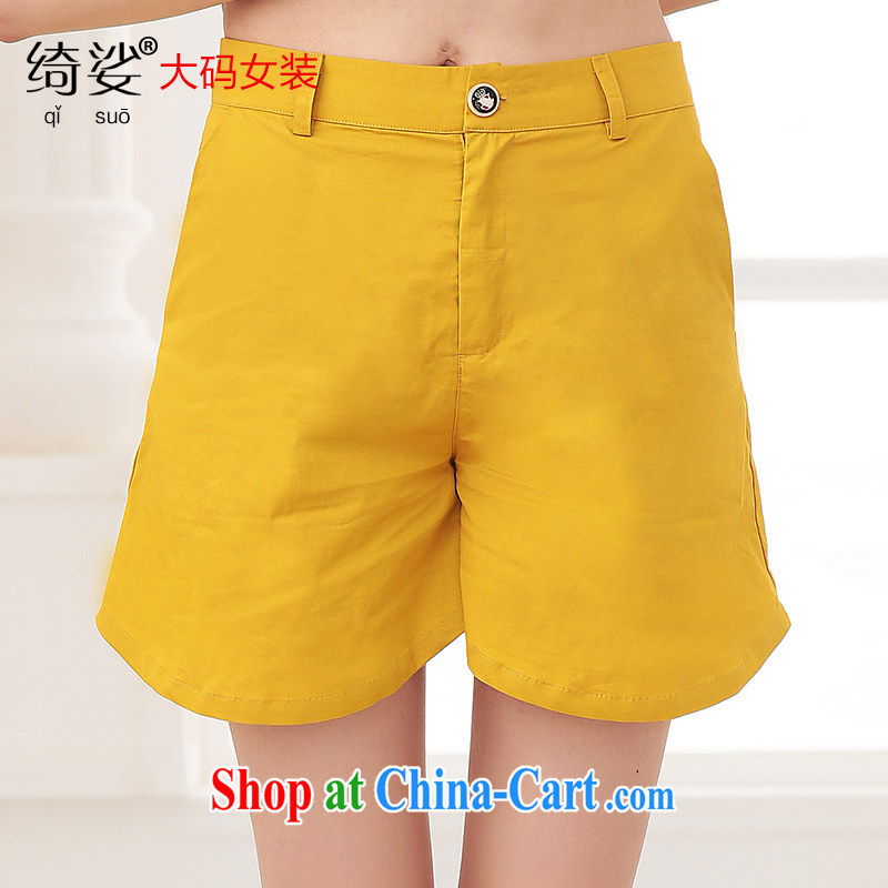 cheer for the code women 2015 new summer shorts Korean thick mm video thin and thick XL solid color shorts 2717 yellow 4 XL
